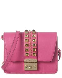 Valentino By Mario Valentino Pink Benedicte Palmetto Leather Shoulder Bag