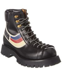 Gucci Black Graphic Print Lace-up Leather Boot for men