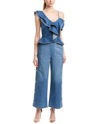 Jonathan Simkhai Blue Denim Ruffle Cropped Wide-leg Jumpsuit W/ Button Sides