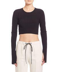 CALVIN KLEIN 205W39NYC Black Bao Long-sleeve Ribbed Knit Crop Top