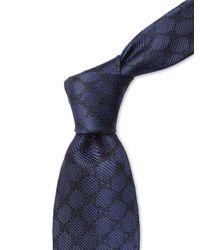 Gucci Blue Logo Embroidered Silk Tie for men