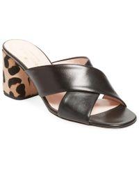 Kate Spade - Black Denault Criss-cross Leather Sandal - Lyst