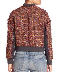 Diane von Furstenberg Brown Bayler Tweed Bomber Jacket