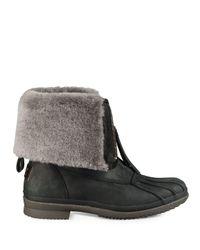 Ugg Black Arquette Piedmont Fur-trimmed Leather Boots