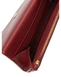 Balenciaga Red Metallic Edge Leather Continental Wallet