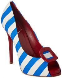 Roger Vivier Blue Striped Platform Peep-toe Pump