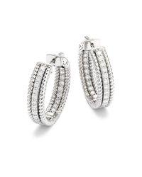 Saks Fifth Avenue Metallic Diamond & 14k White Gold Hoop Earrings