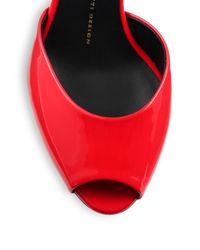 Giuseppe Zanotti Red Patent Leather Mid-heel Mules