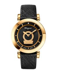 Ferragamo Metallic Minuetto Gold Ip Stainless Steel Case And Black Saffiano Leather Strap Women's Watch W/black Guilloche' Dial