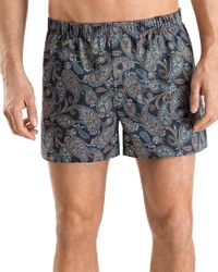 Hanro Blue Pack Of 2 Fancy Woven Boxers for men
