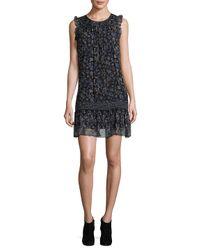 Joie Black Tahoma B Floral Silk Shift Dress