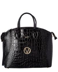Valentino By Mario Valentino Black Bravia Croc-embossed Leather Satchel