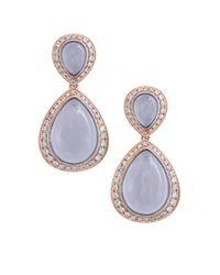 Effy Metallic Diamond, Chalcedony & 14k Rose Gold Pear Dangle & Drop Earrings
