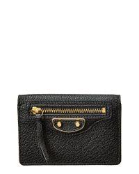 Balenciaga Black Classic Metallic Edge Mini Leather Wallet