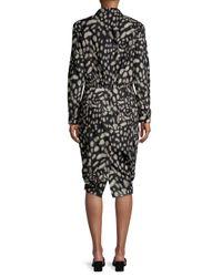 Max Mara Black Geo-print Blouson Dress