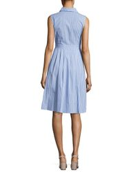 Eliza J Blue Striped Knee-length Dress