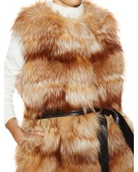 Tasha Tarno - Natural Belted Fox Fur Vest - Lyst