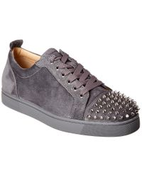 Christian Louboutin Gray Louis Junior Spiked Suede Sneakers for men