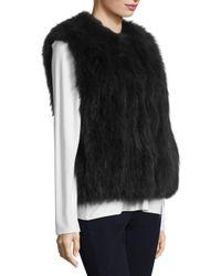 Annabelle New York - Black Woven Cotton Fur Vest - Lyst