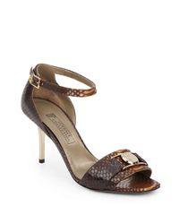 Versace Brown Embossed Leather Sandals