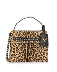 Valentino Multicolor Animal-print Calf Hair Top Handle Bag