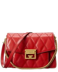 Givenchy Red Gv3 Small Diamond Quilted Leather Shoulder Bag