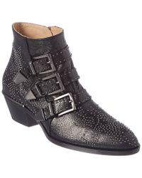 Chloé Black Susanna Studded Metallic Leather Ankle Boot