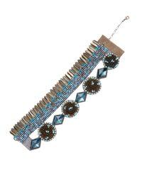 Deepa Gurnani - Blue Brass Feather & Beaded Statement Bracelet - Lyst