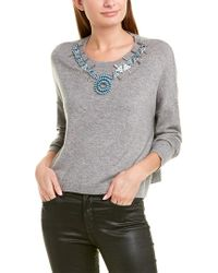 The Kooples Gray Necklace Wool & Cashmere-blend Sweater