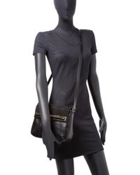 Halston Heritage Black Leather Saddle Crossbody