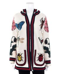 Gucci Multicolor Wool Insect Flower Hooded Cardigan (size Extra Small)