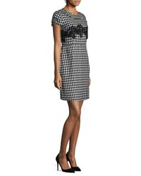 Karl Lagerfeld Black Houndstooth Fit & Flare Silhouette
