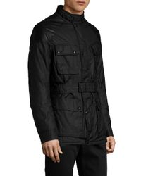 Belstaff Black Cotton Stand Collar Field Jacket for men