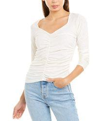 Nation Ltd White Alejandra Ruched T-shirt