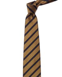Ermenegildo Zegna Metallic Gold & Navy Stripe Silk Tie for men