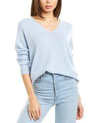 Vince Blue Marled V-neck Wool & Cashmere-blend Top