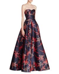 Oscar de la Renta Blue Strapless Silk & Cotton Sweatheart Ball Gown