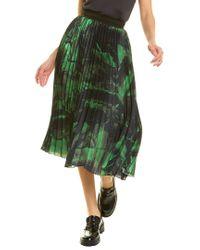 Off-White c/o Virgil Abloh Green Off-white? Brushstroke Pleated Silk A-line Skirt