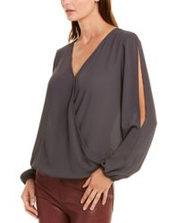 Three Eighty Two Gray Amber Top