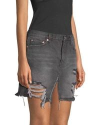 Free People - Black Relaxed & Destroyed Skirt - Lyst