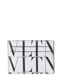 Valentino White Vtln Leather Card Holder for men