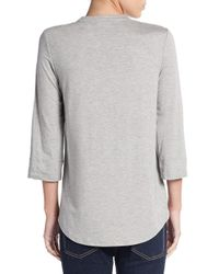 Calvin Klein   Gray Zip Roll-sleeve Top   Lyst