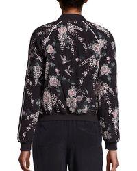 Joie Black Mace Floral-print Silk Bomber Jacket