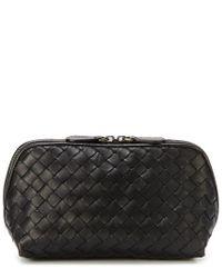 Lyst - Bottega Veneta Medium Intrecciato Leather Cosmetic Case in Black fd81992d6ff31