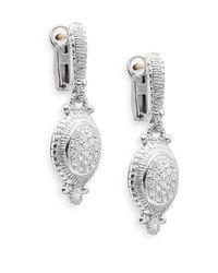 Judith Ripka Metallic Natalie White Sapphire & Sterling Silver Pavé Oval Drop Earrings