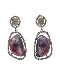 Bavna Metallic Silver 52.82 Ct. Tw. Diamond & Multicolored Sapphire Earrings