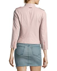 Armani Exchange Pink Solid Stand Collar Jacket