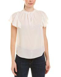 Rebecca Taylor White Silk & Lace Top