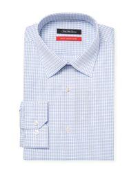 Saks Fifth Avenue - Blue Plaid Cotton Dress Shirt for Men - Lyst