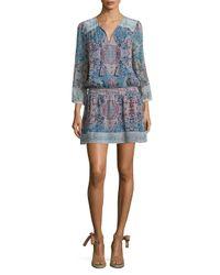 Joie Blue Aidee Tile-printed Silk Dress